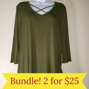LIME N CHILI CROSS NECK BLOUSE Olive Green M